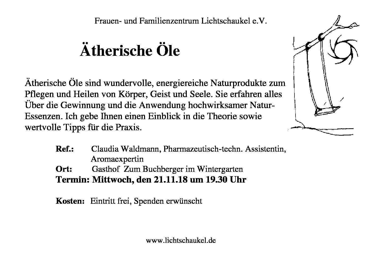 """Vortrag zum Thema """"Ätherische Öle"""""""