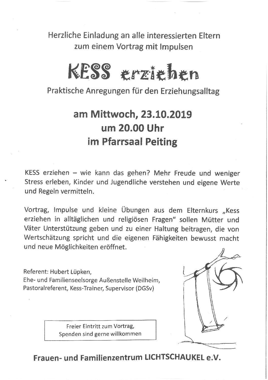 """Vortrag zum Thema """"Kess erziehen – praktische Anregungen für den Erziehungsalltag"""""""